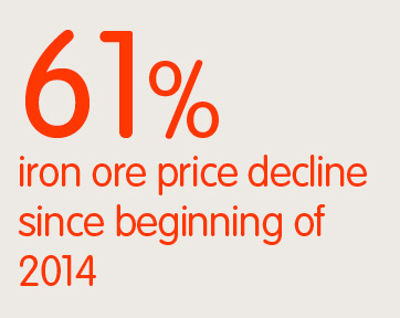 61% iron ore price decline since beginning of 2014